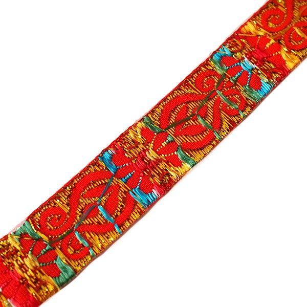 ベトナム チロリアンテープ 刺繍 オレンジ(幅2cm/1m単位売り)【画像2】