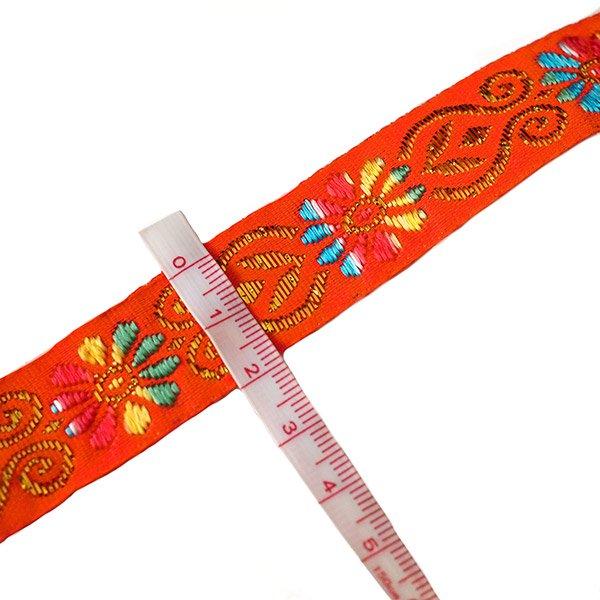 ベトナム チロリアンテープ 刺繍 オレンジ(幅2cm/1m単位売り)【画像3】
