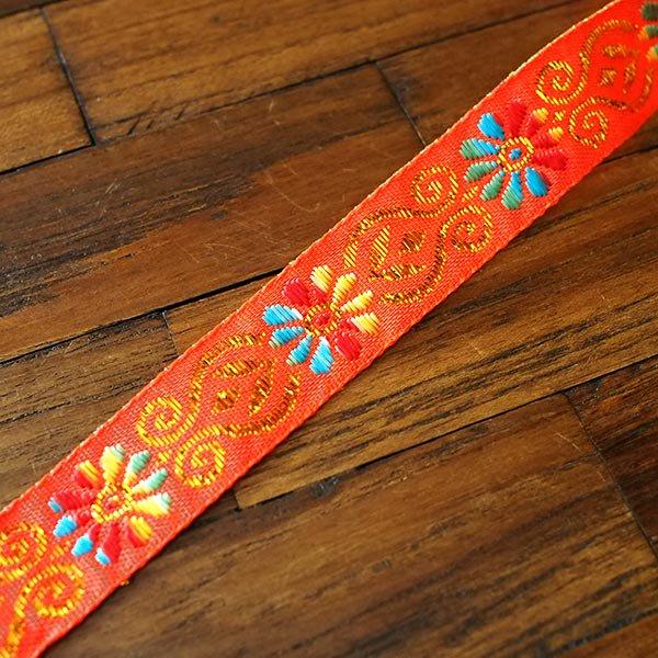 ベトナム チロリアンテープ 刺繍 オレンジ(幅2cm/1m単位売り)【画像4】