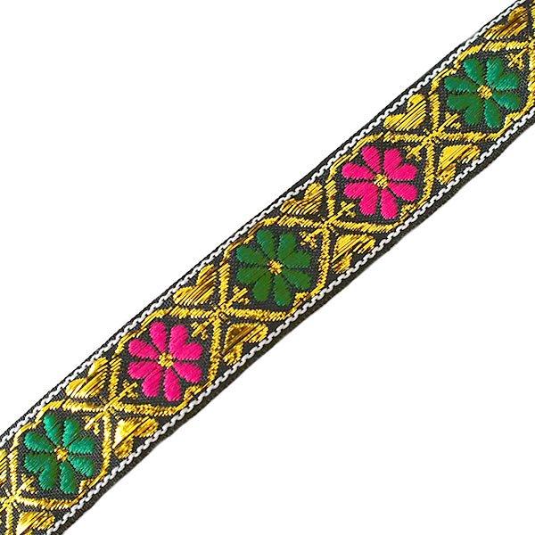 ベトナム チロリアンテープ 刺繍 ブラック 花(幅2cm/1m単位売り)