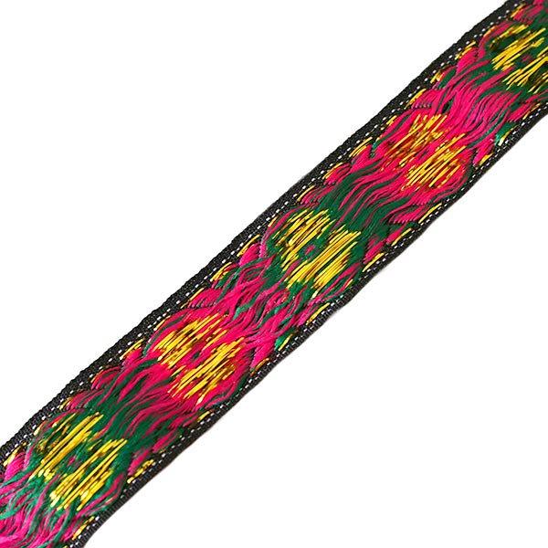 ベトナム チロリアンテープ 刺繍 ブラック 花(幅2cm/1m単位売り)【画像2】