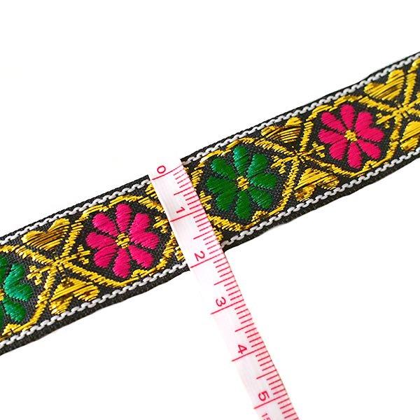 ベトナム チロリアンテープ 刺繍 ブラック 花(幅2cm/1m単位売り)【画像3】
