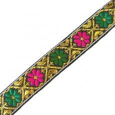 チロリアンテープ ベトナム チロリアンテープ 刺繍 ブラック 花(幅2cm/1m単位売り)