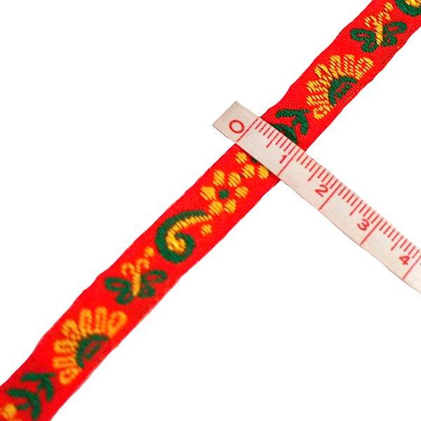ベトナム チロリアンテープ 刺繍 レッド(幅1cm/1m単位売り)【画像3】