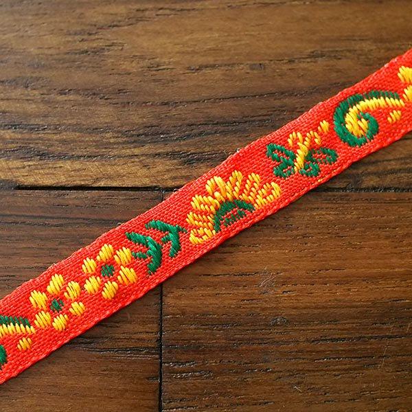ベトナム チロリアンテープ 刺繍 レッド(幅1cm/1m単位売り)【画像4】