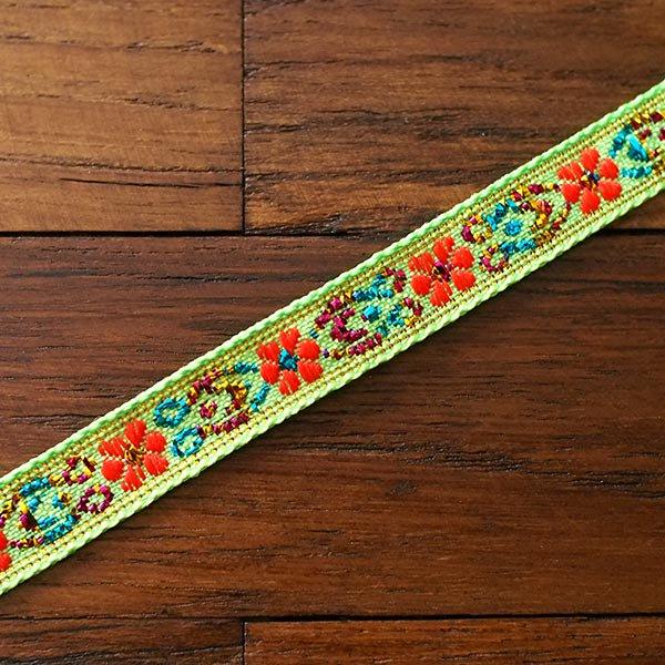 ベトナム チロリアンテープ 刺繍 キミドリ(幅1cm/1m単位売り)【画像4】