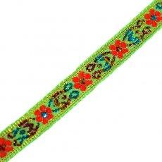 チロリアンテープ ベトナム チロリアンテープ 刺繍 キミドリ(幅1cm/1m単位売り)