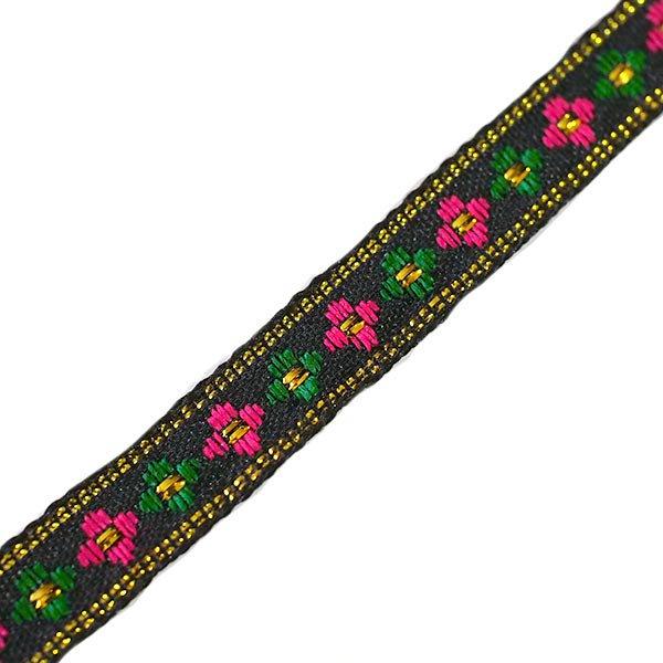 ベトナム チロリアンテープ 刺繍 ブラック(幅1cm/1m単位売り)