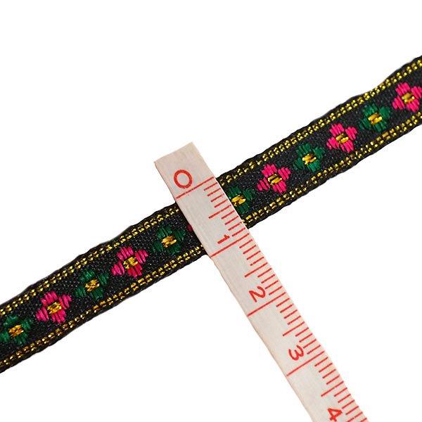 ベトナム チロリアンテープ 刺繍 ブラック(幅1cm/1m単位売り)【画像3】