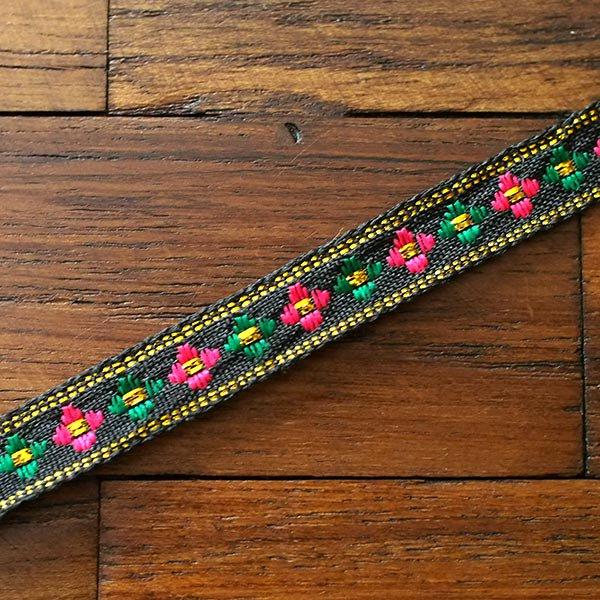 ベトナム チロリアンテープ 刺繍 ブラック(幅1cm/1m単位売り)【画像4】