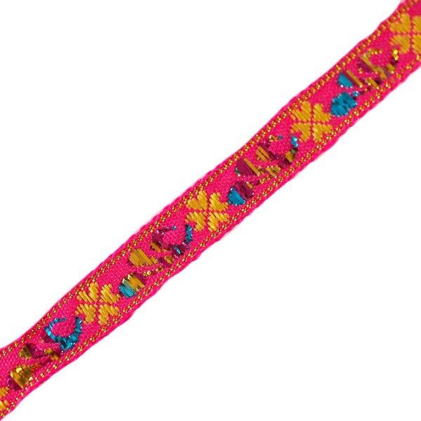 ベトナム チロリアンテープ 刺繍 ピンク(幅1cm/1m単位売り)