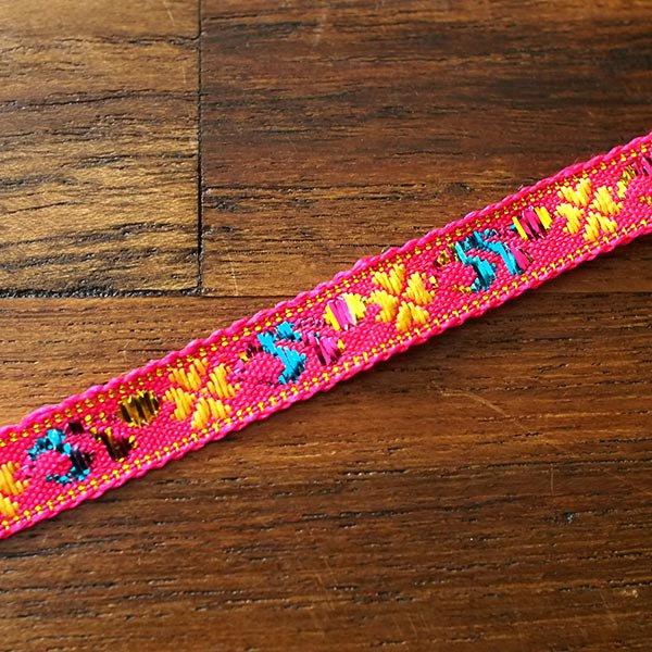 ベトナム チロリアンテープ 刺繍 ピンク(幅1cm/1m単位売り)【画像4】