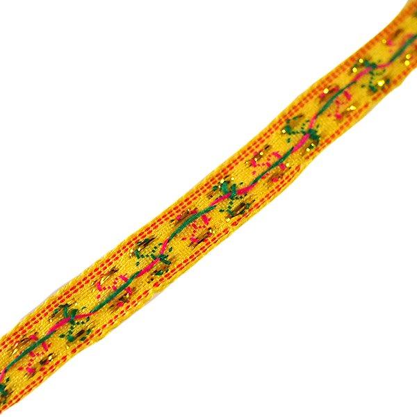 ベトナム チロリアンテープ 刺繍 イエロー(幅1cm/1m単位売り)【画像2】