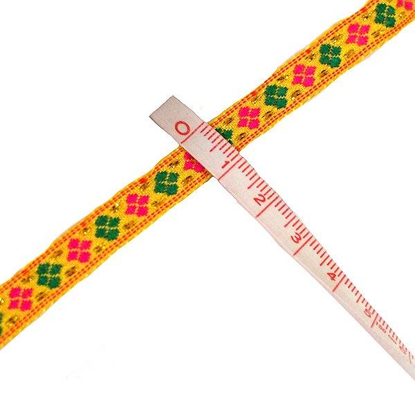 ベトナム チロリアンテープ 刺繍 イエロー(幅1cm/1m単位売り)【画像3】