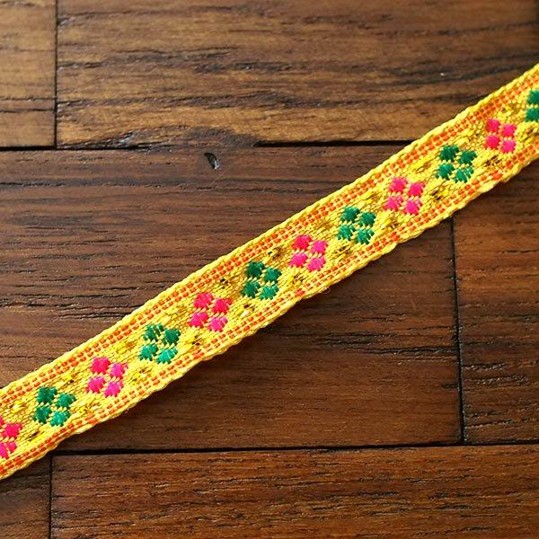 ベトナム チロリアンテープ 刺繍 イエロー(幅1cm/1m単位売り)【画像4】