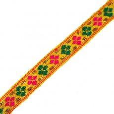 ベトナム チロリアンテープ 刺繍 イエロー(幅1cm/1m単位売り)