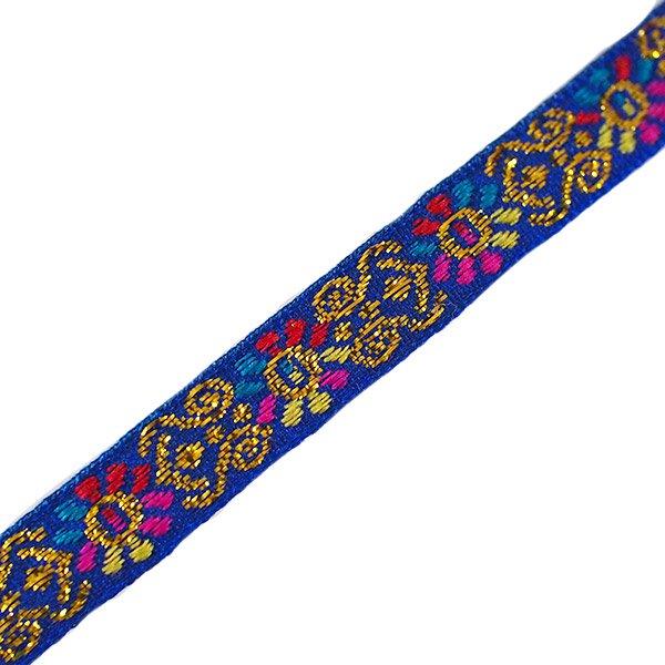 ベトナム チロリアンテープ 刺繍 ブルー(幅1cm/1m単位売り)