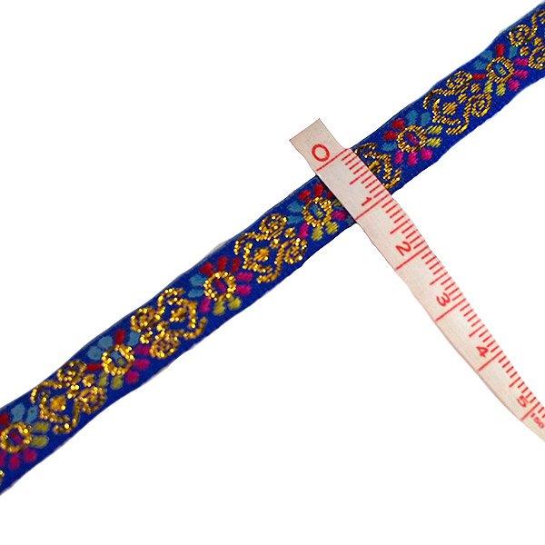ベトナム チロリアンテープ 刺繍 ブルー(幅1cm/1m単位売り)【画像3】