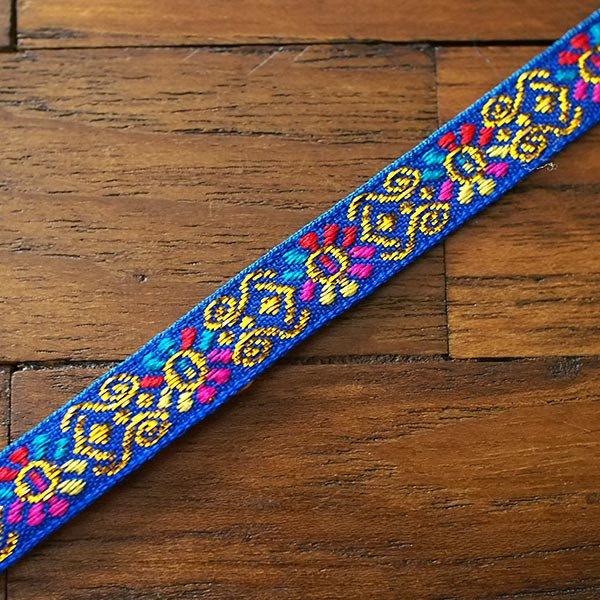 ベトナム チロリアンテープ 刺繍 ブルー(幅1cm/1m単位売り)【画像4】