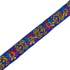 チロリアンテープ ベトナム チロリアンテープ 刺繍 ブルー(幅1cm/1m単位売り)
