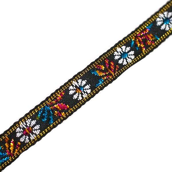ベトナム チロリアンテープ 刺繍 白花 ブラック(幅1cm/1m単位売り)