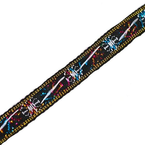 ベトナム チロリアンテープ 刺繍 白花 ブラック(幅1cm/1m単位売り)【画像2】
