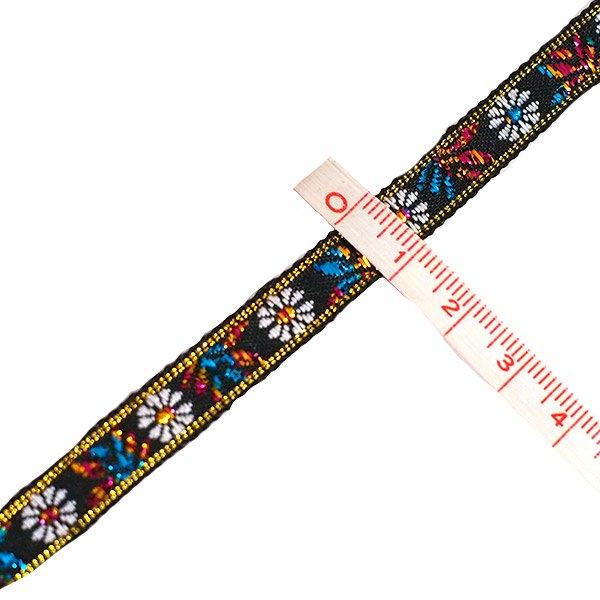 ベトナム チロリアンテープ 刺繍 白花 ブラック(幅1cm/1m単位売り)【画像3】