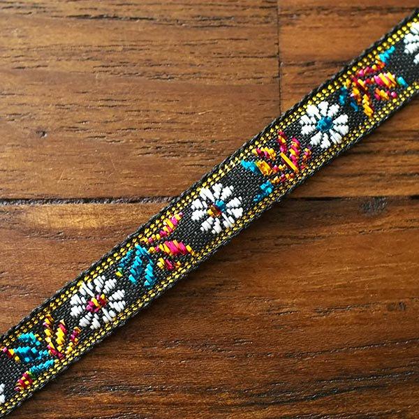 ベトナム チロリアンテープ 刺繍 白花 ブラック(幅1cm/1m単位売り)【画像4】