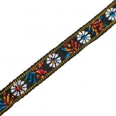チロリアンテープ ベトナム チロリアンテープ 刺繍 白花 ブラック(幅1cm/1m単位売り)