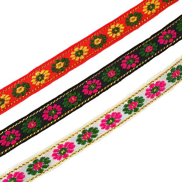 ベトナム チロリアンテープ 刺繍 3色(幅1cm/1m単位売り)