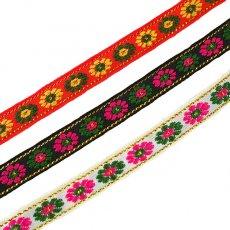 チロリアンテープ ベトナム チロリアンテープ 刺繍 3色(幅1cm/1m単位売り)