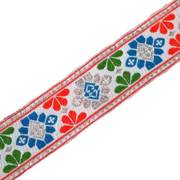 ベトナム チロリアンテープ 刺繍 ホワイト (幅3cm/1m単位売り)