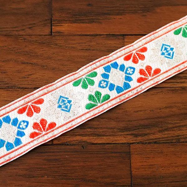 ベトナム チロリアンテープ 刺繍 ホワイト (幅3cm/1m単位売り)【画像4】