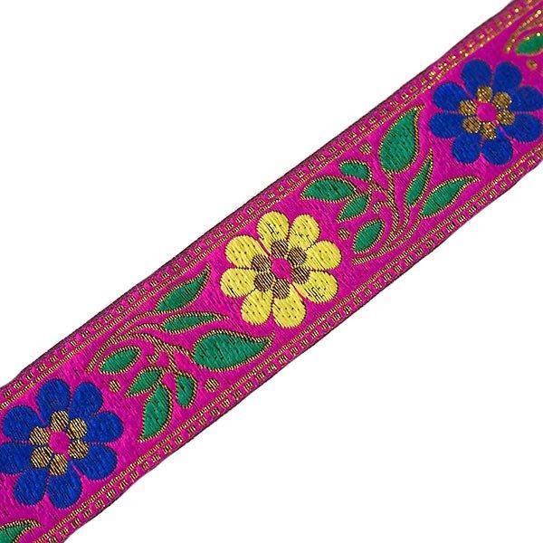 ベトナム チロリアンテープ 刺繍 ピンク (幅4cm/1m単位売り)
