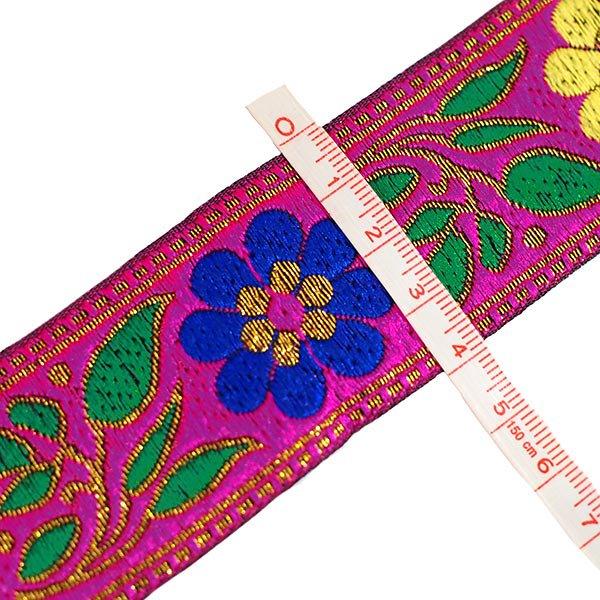 ベトナム チロリアンテープ 刺繍 ピンク (幅4cm/1m単位売り)【画像3】