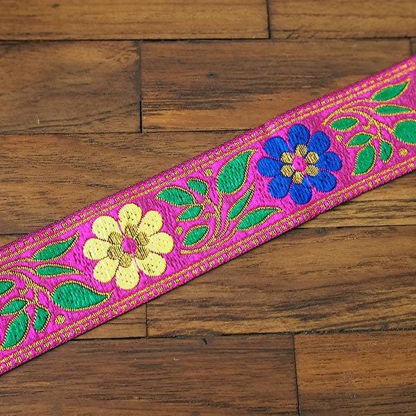 ベトナム チロリアンテープ 刺繍 ピンク (幅4cm/1m単位売り)【画像4】