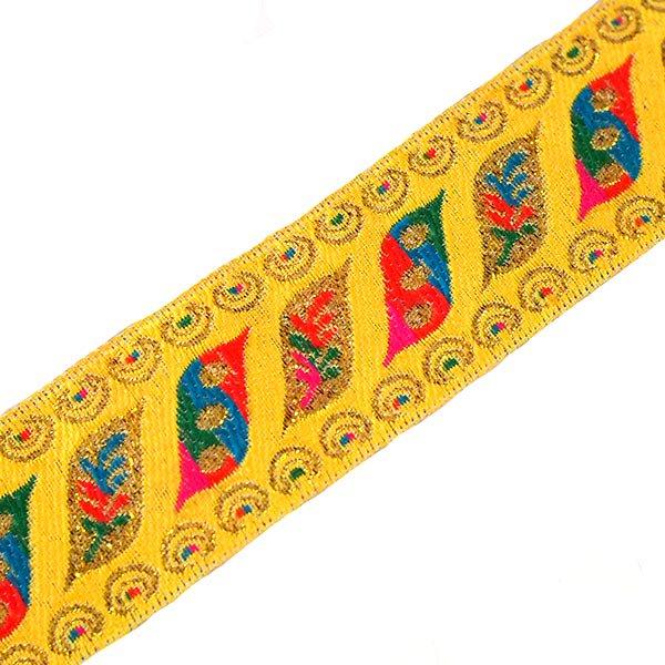 ベトナム チロリアンテープ 刺繍 イエロー (幅4cm/1m単位売り)