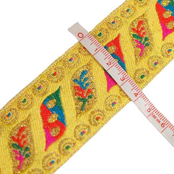 ベトナム チロリアンテープ 刺繍 イエロー (幅4cm/1m単位売り)【画像3】