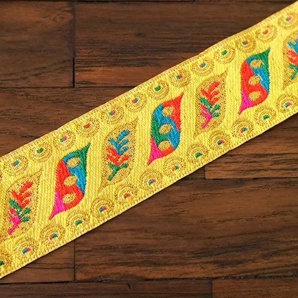 ベトナム チロリアンテープ 刺繍 イエロー (幅4cm/1m単位売り)【画像4】