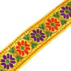 チロリアンテープ ベトナム チロリアンテープ 刺繍 イエロー 花(幅4cm/1m単位売り)