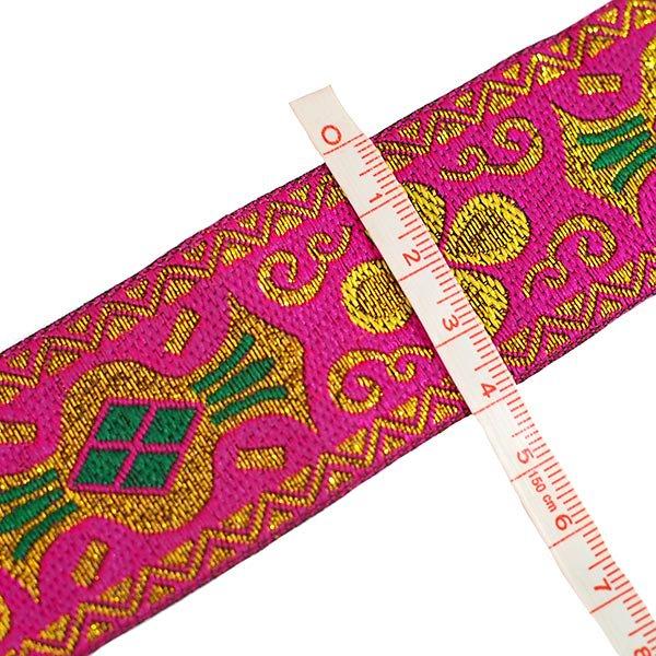 ベトナム チロリアンテープ 刺繍 ピンク・ブルー(幅4cm/1m単位売り)【画像3】