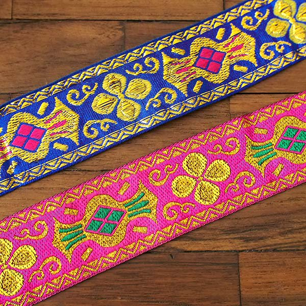 ベトナム チロリアンテープ 刺繍 ピンク・ブルー(幅4cm/1m単位売り)【画像4】