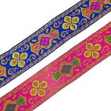 ベトナム チロリアンテープ 刺繍 ピンク・ブルー(幅4cm/1m単位売り)