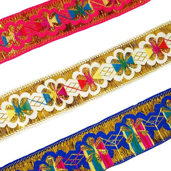 ベトナム チロリアンテープ 刺繍 ピンク・ホワイト・ブルー(幅4cm/1m単位売り)【画像2】