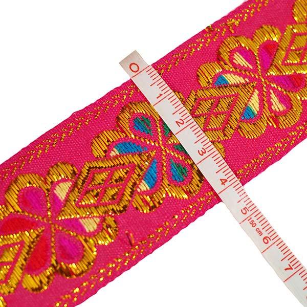 ベトナム チロリアンテープ 刺繍 ピンク・ホワイト・ブルー(幅4cm/1m単位売り)【画像3】