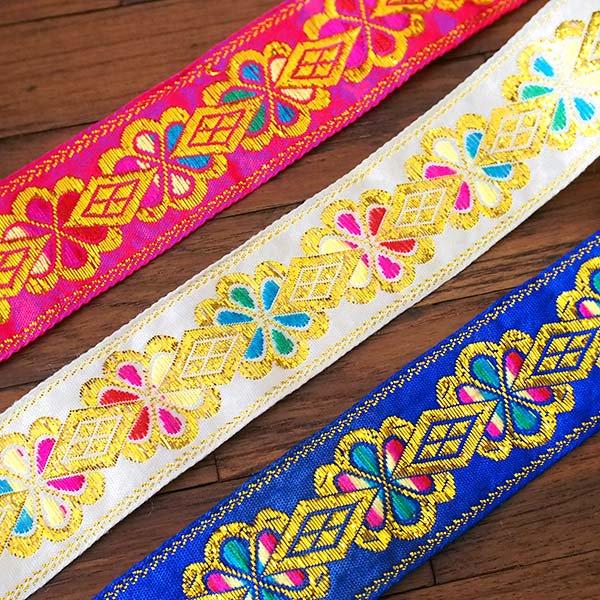 ベトナム チロリアンテープ 刺繍 ピンク・ホワイト・ブルー(幅4cm/1m単位売り)【画像4】