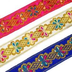 チロリアンテープ ベトナム チロリアンテープ 刺繍 ピンク・ホワイト・ブルー(幅4cm/1m単位売り)