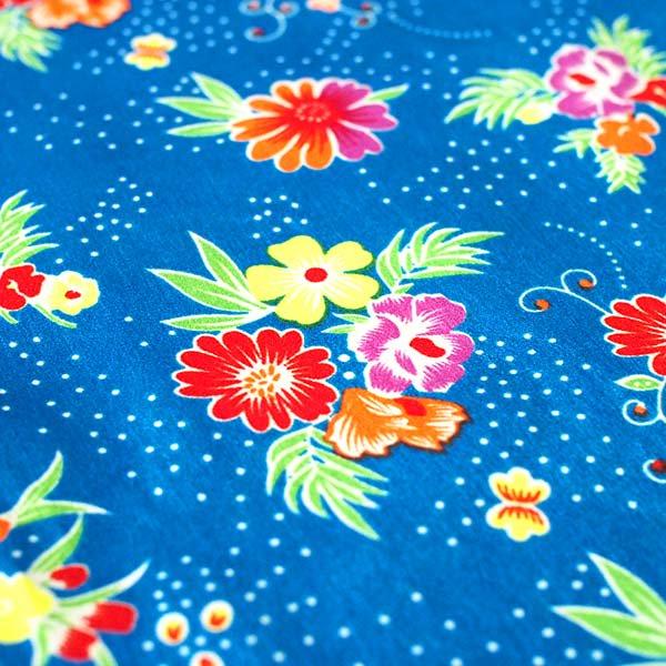 【ベトナム直輸入】 花柄 生地 カットオフ 幅130/ 80cm 売り(ブルー)【画像3】