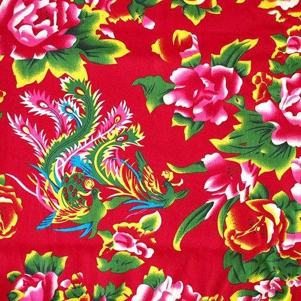 ベトナム 牡丹と鳳凰 カットオフ 幅約158/ 1m売り(レッド)