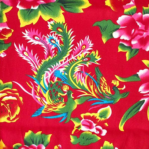 ベトナム 牡丹と鳳凰 カットオフ 幅約158/ 1m売り(レッド)【画像2】